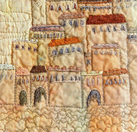 Embroidery art fiber wall old city home decor tan