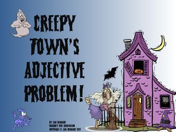 Learning about adjectives can be fun, and a little creepy too, with this Halloween unit about adjectives! Start with a four page story about Creepy Town's adjective problem, then help the newspaper editor bring adjectives back into her newspaper! $3.00