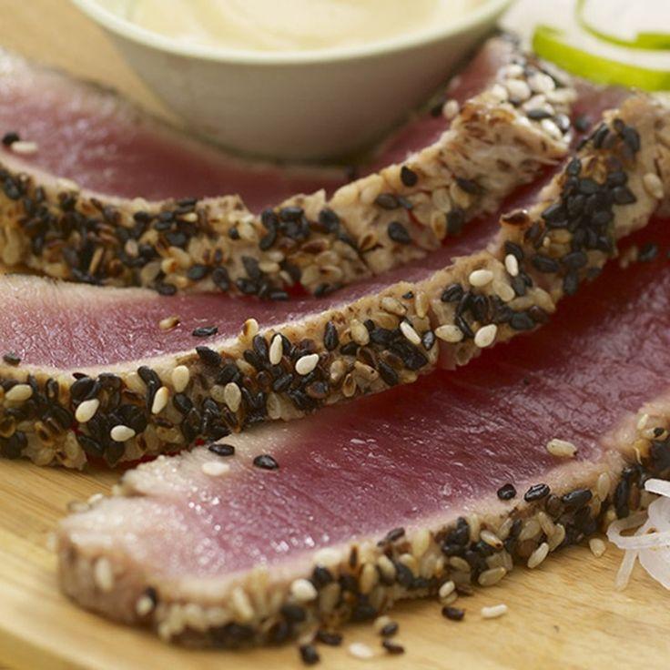 Black and White Encrusted Tuna with Wasabi Aioli | Recipe