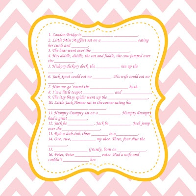 baby shower nursery rhyme game baby shower ideas pinterest