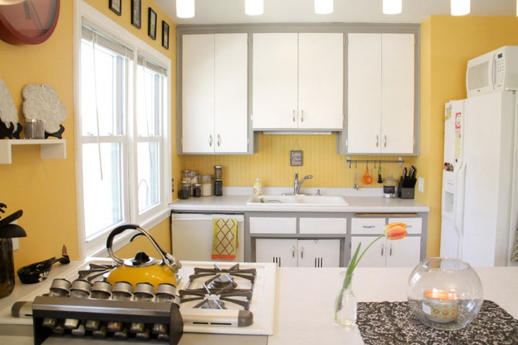 Yellow Kitchen With White And Gray Yellow Pinterest