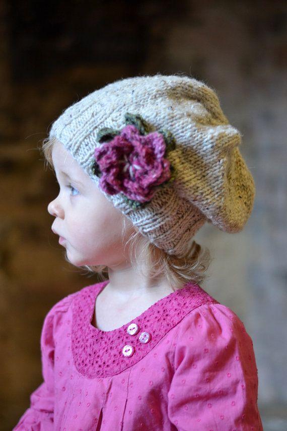 KNITTING PATTERNS girls hats little petal slouchy hat ...