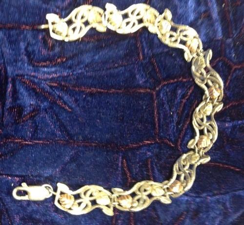 Black Hills Gold Sterling Bracelet with 16 12 K Gold Leafs | eBay