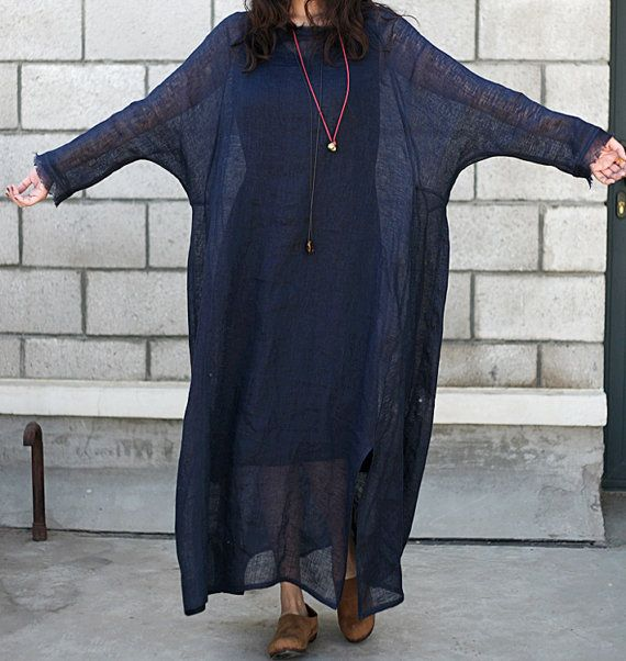 women linen maxi dress / Plus Size Dress/ Big women clothes(B302