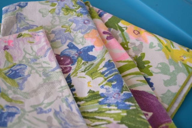 Vintage Cloth Napkins Floral- Dot and Army