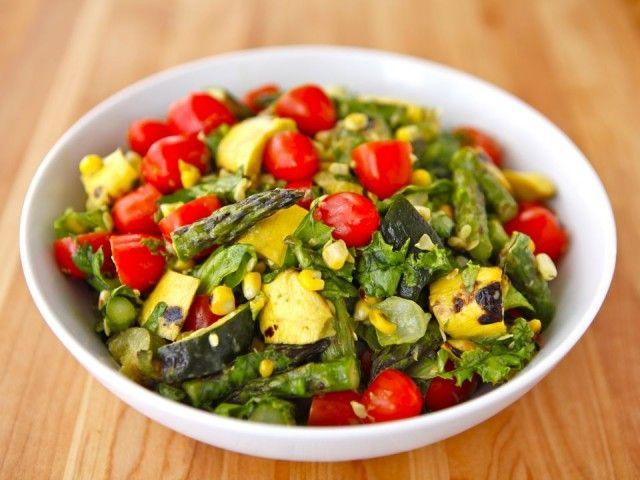 grilled veggie salad w/ asparagus zucchini squash & grape tomatoes