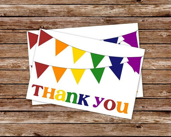 INSTANT DOWNLOAD - Printable Rainbow Bunting Birthday Thank You Card