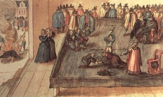A rendering of the execution of Mary Stuart, the former Queen of Scots, at Fotheringay Castle on February 8th, 1587.