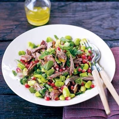 Slow-Cooked Lamb Salad with Beans, Pomegranate and Fresh Mint