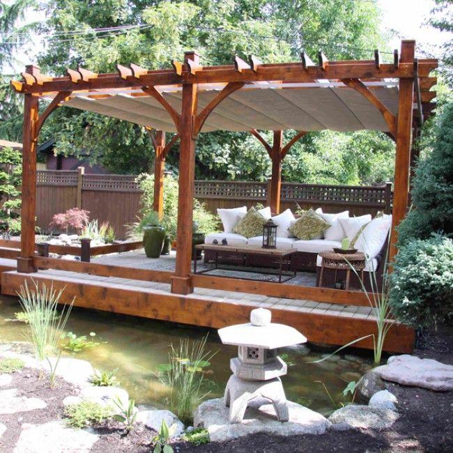 Retractable pergola roof diy home pergolas pergola for Japanese pergola kits