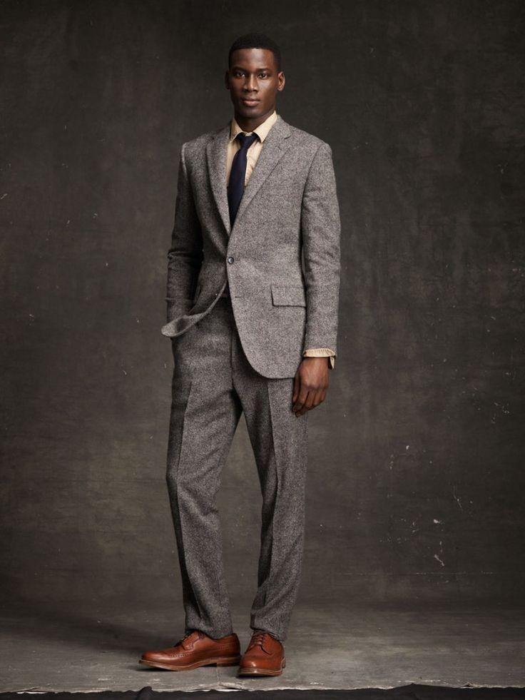 grey suit brown shoes black tie male models picture