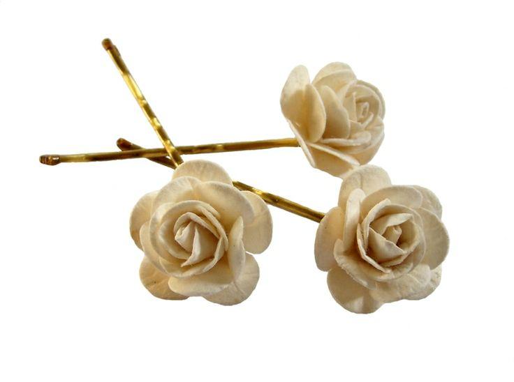 Ivory Rose Hair Grips | WEDDING | Pinterest