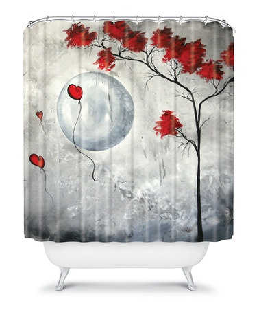 Gray Red Far Side Of The Moon Shower Curtain