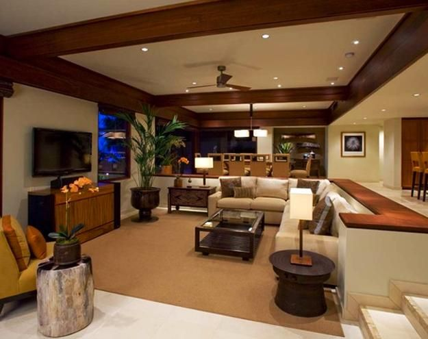 Cozy living room designs with fireplaces defined by sunken for Sunken living room designs