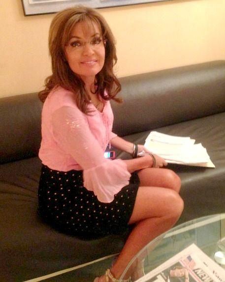 Sarah Palin Legs Rocks Pink Polka Dot Mini Skirt On FoSarah Palin Skirt