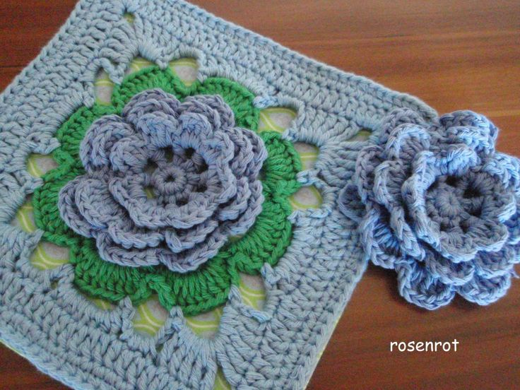 granny square with irish rose Crochet - Squares Pinterest