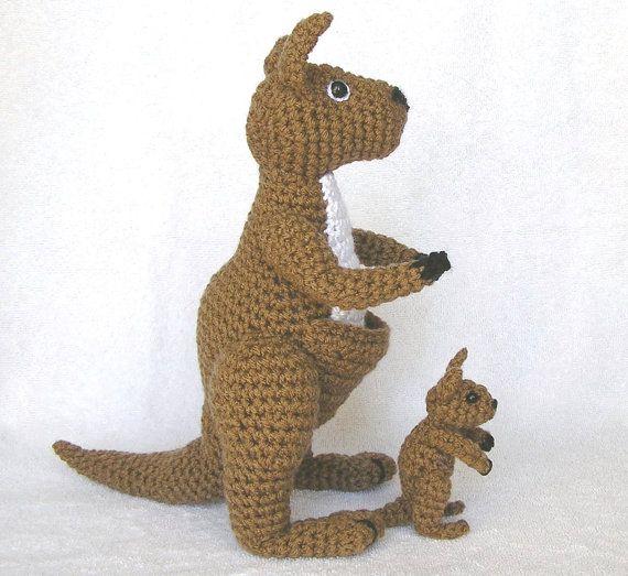 Crochet Patterns Australia : PDF Crochet Pattern KANGAROO and BABY