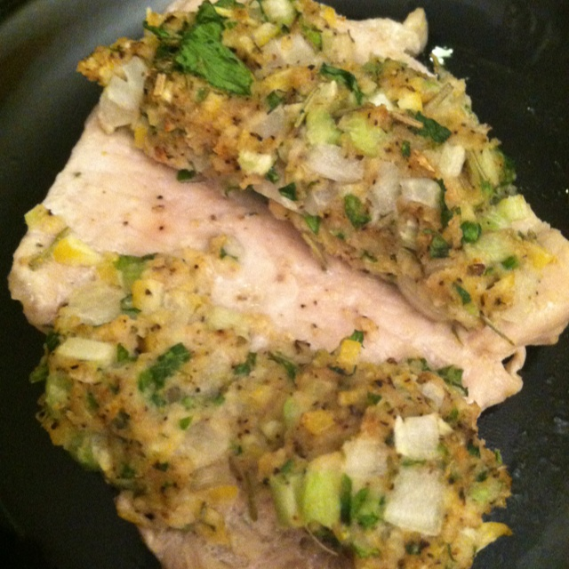 Lemon and herb stuffed pork chops (pictured open faced), ww best darn ...