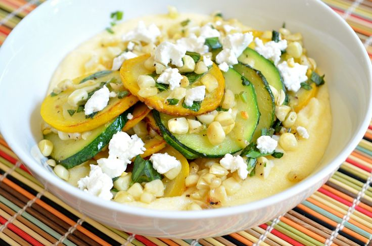 Summer Squash Sauté with Corn and Goat Cheese Polenta by @Three Many ...