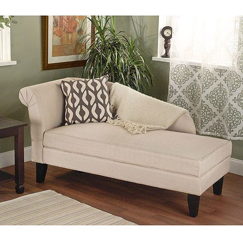 new beige cotton storage chaise lounge fainting couch seat tufted den