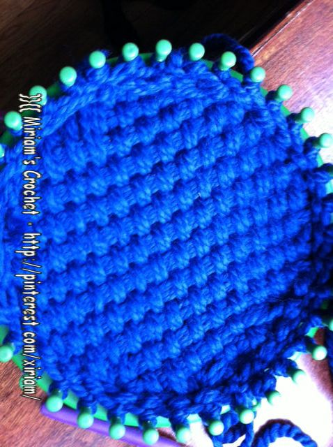 Loom Knitting Stitches Diagram : Basket weave loom knitted hat Im making for my daughter - I almost calle...