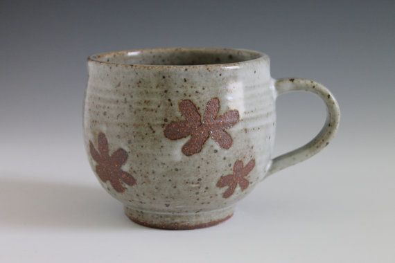 Flower Design Ceramic Mug Cup Handmade Coffee Mug Pottery Mug