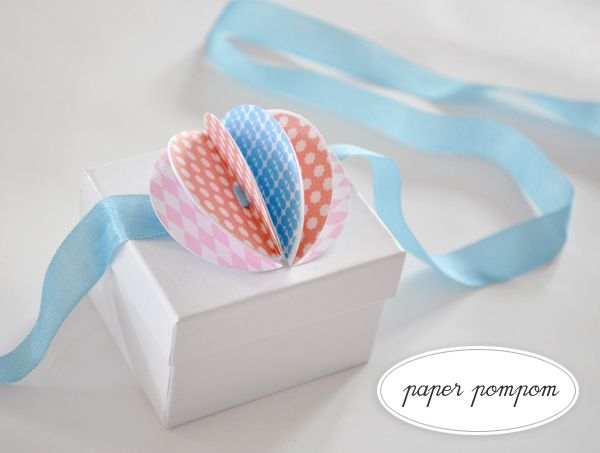 pom pom and ribbon package topper