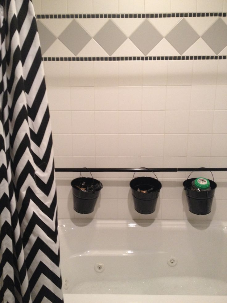Bath storage solution. Black tension shower curtain rod from Wal-mart ...