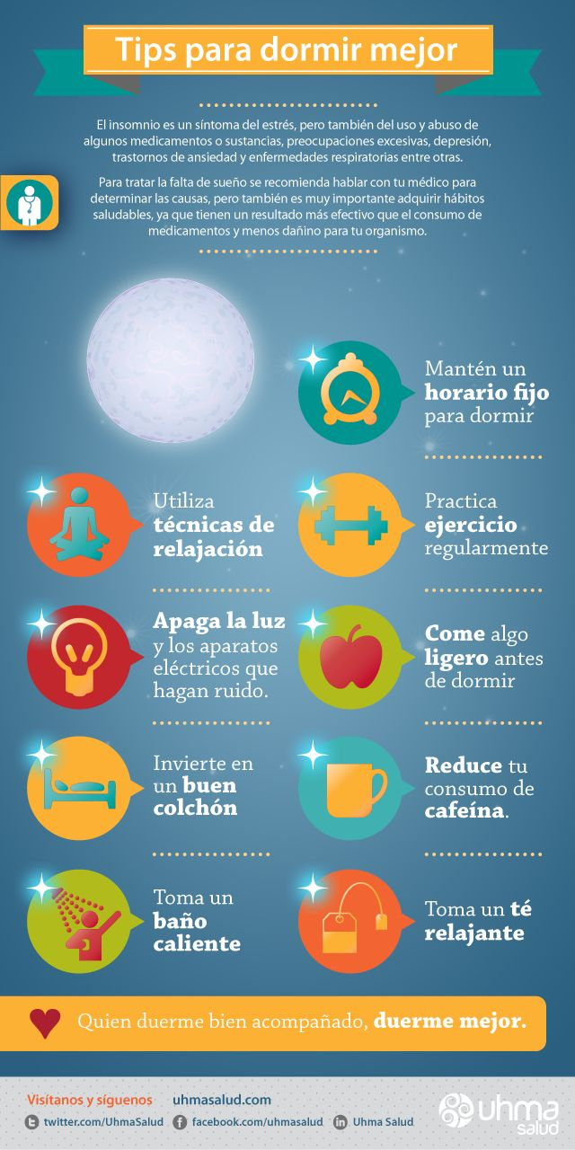Infografía de salud. Tips para dormir mejor.  Health Infographic. How to Sleep Better.  Tú commands
