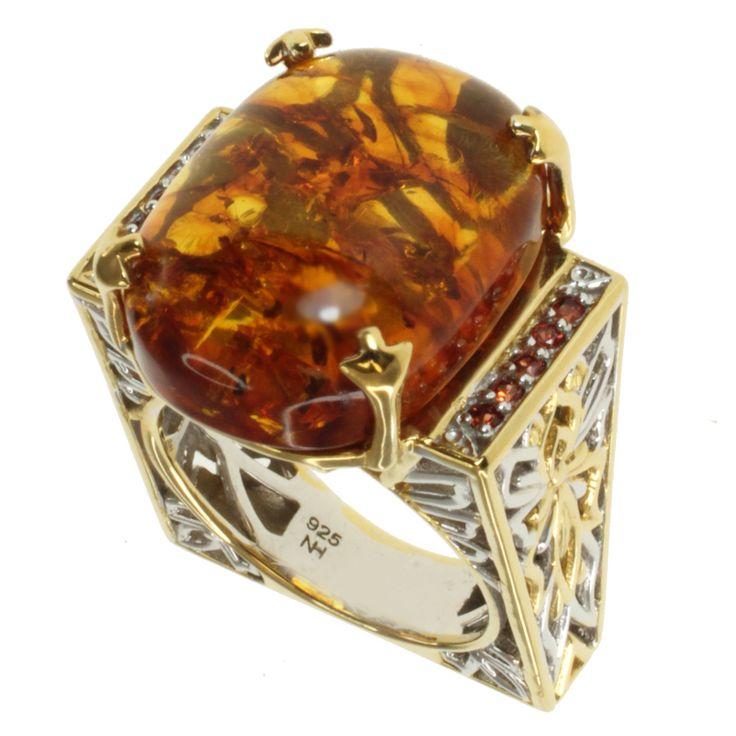 michael valitutti two tone and orange sapphire ring