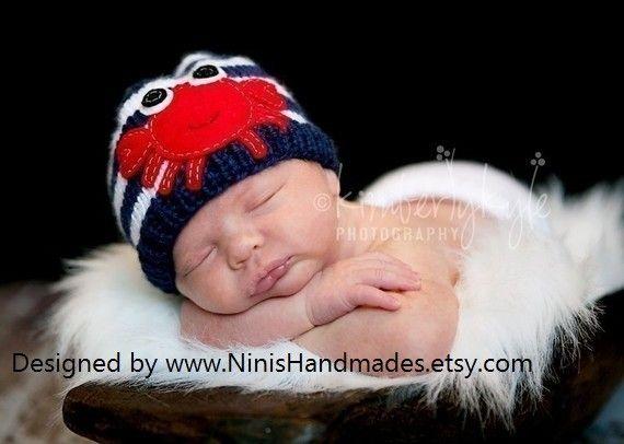 NAVY CRAB  BEANIE Newborn Size