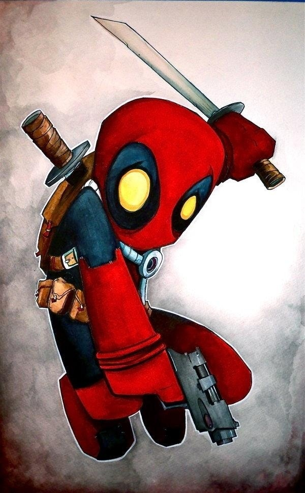 how to draw deadpool for kids