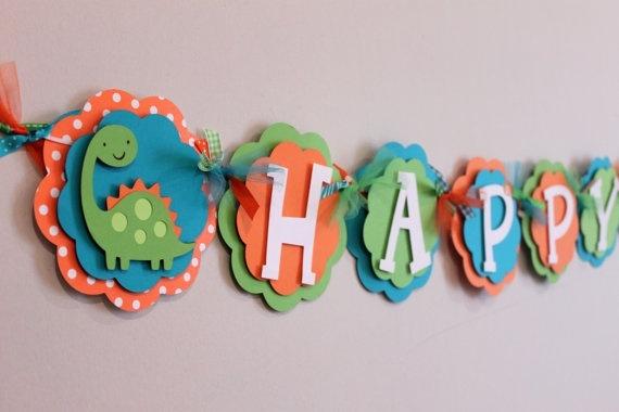 dinosaur birthday banner first-birthday  LNS Bday party ideas  Pint ...