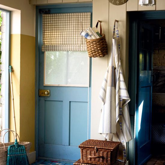 Kitchen Entrance Curtain: Blue Back Door/curtain Treatment