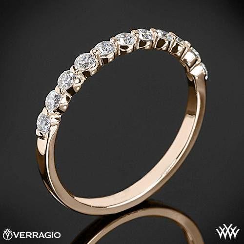 20k Rose Gold Verragio INS 7034W Single Prong Diamond Wedding Ring