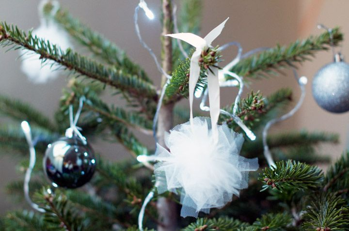 DIY Christmas tree decorations : Tulle baubles