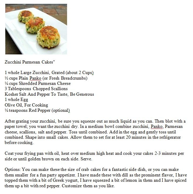 Zucchini Parmesan Cakes | Foodie | Pinterest