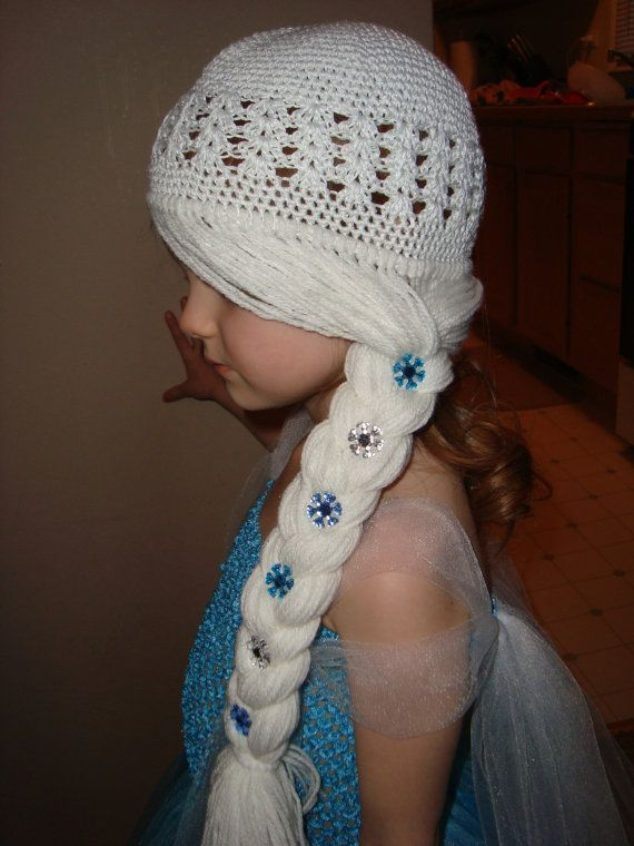 Crochet Elsa Hair : Elsa Frozen inspired Wig Hat, White Hair with braid to the side with ...