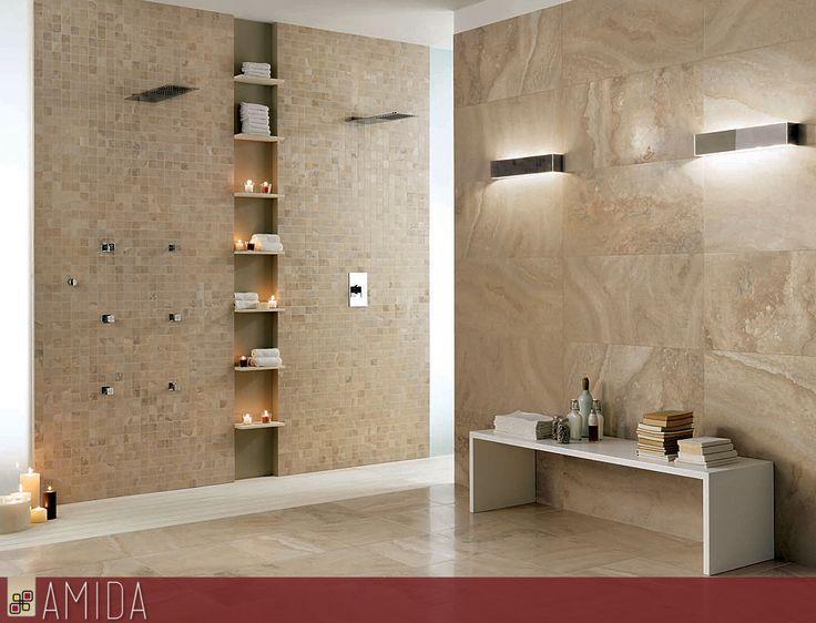 Bagni moderni in travertino rivestimenti e piastrelle per - Bagno rivestimento pietra ...