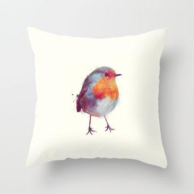 Winter Robin Throw Pillow