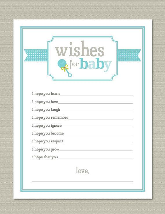 wishes for baby printable baby shower game blue by getpartychic