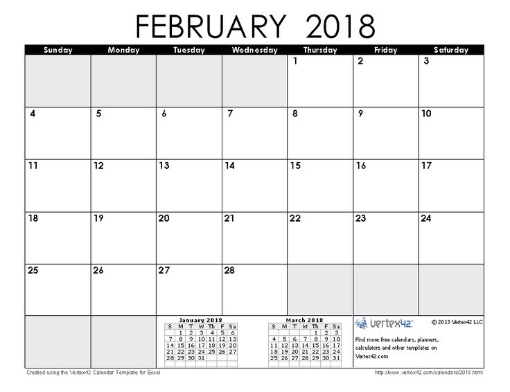 27 best February 2018 Calendar images on Pinterest | Spaces