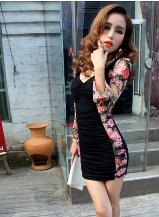 Vinosc Leopard Print Halter Chiffon Long Sleeved Dress Dressy