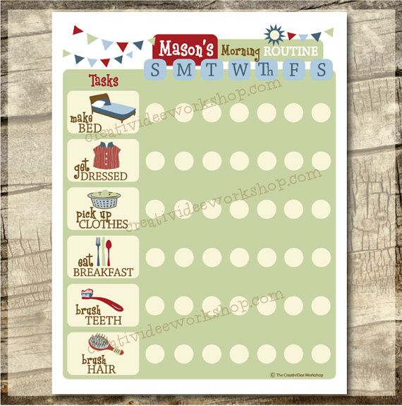 Printable Routine Chart - DAILY Morning Routine Chart - Boy Theme - G ...