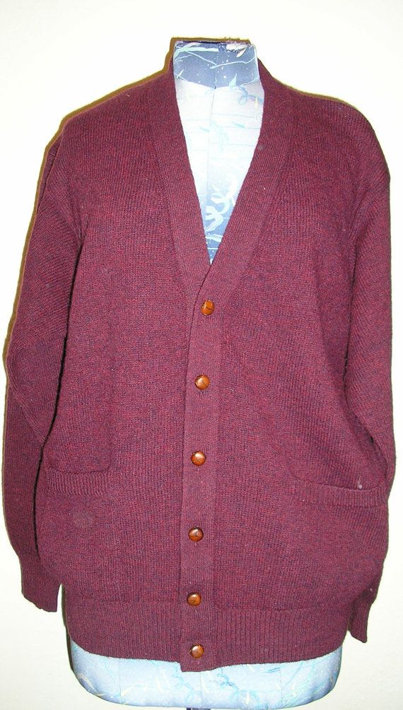 80s, wine, Benetton, shetland, wool, cardigan, sweater, medium, M, le
