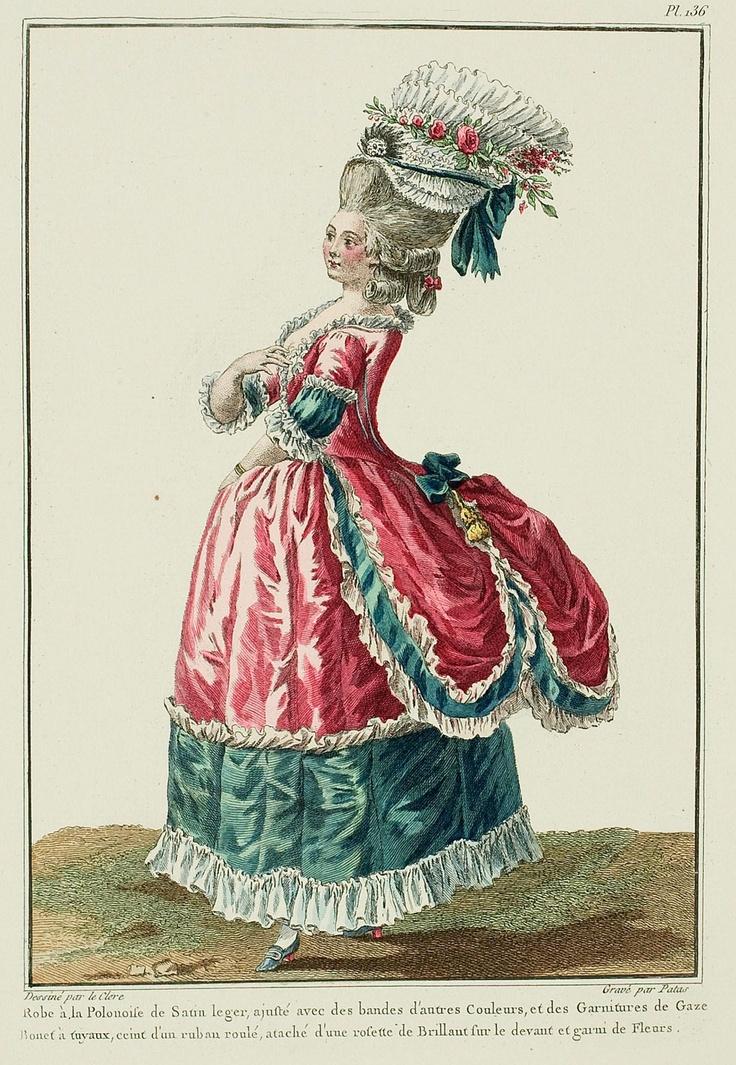Полонез свет атласа, отделанный полосы других цветов, а марлевые отделки.  Шапка Tuyaux, подпоясанный проката лента, прикрепленная с блестящим розетка на передней и поправили с цветами.  (1780 г.)