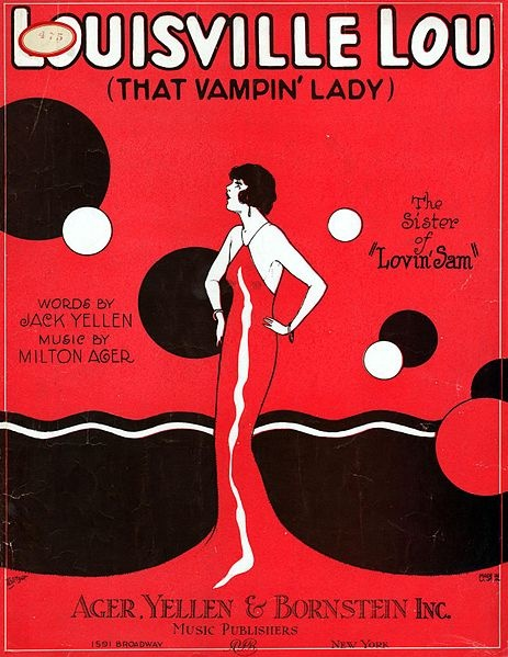 "Sheet Music Cover of ""Louisville Lou (That Vampin' Lady)"" 1923"