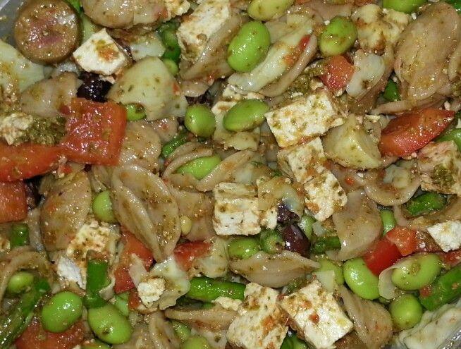 Pesto power pasta salad! Whole wheat pasta, artichokes, asparagus ...