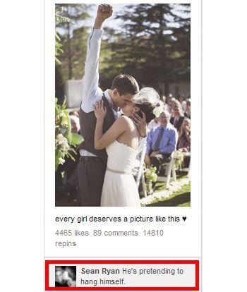"""The reality of marriage... """"He's pretending to hang himself."""" Hahahahaha"""