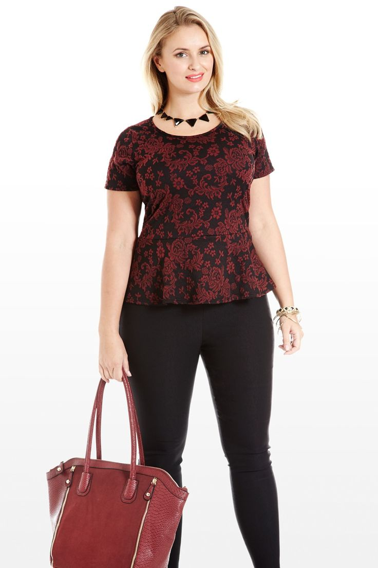 Lady of the Hour Scroll Peplum Plus Size Top